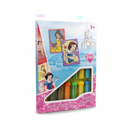Alba ca Zapada & Belle, Disney, Set creativ pictura cu nisip colorat, 2 planse 16,5 x 23,5 cm, 15 tuburi nisip multicolor, 1 penseta, 2 folii protectie, + 3 ani0