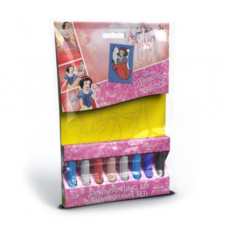 Alba ca Zapada, Disney, Set creativ pictura cu nisip colorat, 1 plansa 16,5 x 23,5 cm, 8 tuburi nisip multicolor, 1 penseta, 1 folie protectie, + 3 ani0