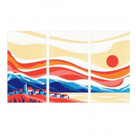 Apus de Soare, Set creativ, pictura cu nisip colorat, 3 planse 18 x 32 cm, 22 tuburi nisip multicolor, 1 penseta, 3 folii protectie, pentru 10 – 99 ani1