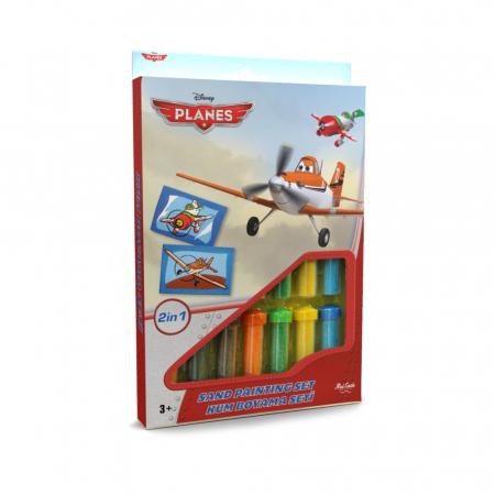 Avioane – Dusty Crophopper & El Chupacabra, Disney, Set creativ pictura cu nisip colorat, 2 planse 16,5 x 23,5 cm, 15 tuburi nisip multicolor, 1 penseta, 2 folii protectie, + 3 ani0