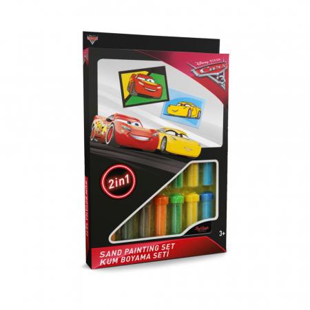 Cars 3 - Fulger McQueen & Cruz Ramirez, Disney, Set creativ pictura cu nisip colorat, 2 planse 16,5 x 23,5 cm, 15 tuburi nisip multicolor, 1 penseta, 2 folii protectie, + 3 ani0