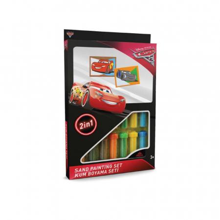 Cars 3 - Fulger McQueen & Jackson Storm, Disney, Set creativ pictura cu nisip colorat, 2 planse 16,5 x 23,5 cm, 15 tuburi nisip multicolor, 1 penseta, 2 folii protectie, + 3 ani0