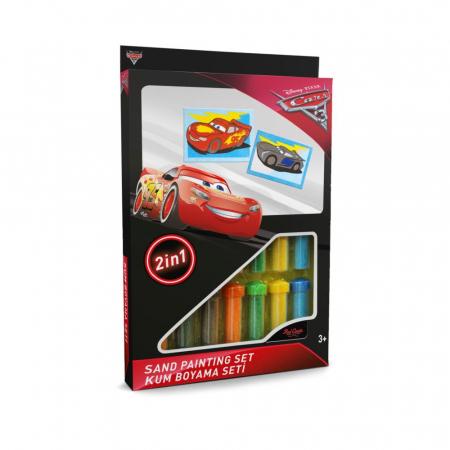 Cars 3 - Fulger McQueen & Jackson Storm II, Disney, Set creativ pictura cu nisip colorat, 2 planse 16,5 x 23,5 cm, 15 tuburi nisip multicolor, 1 penseta, 2 folii protectie, + 3 ani0