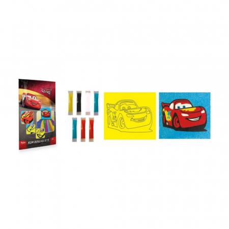 Cars, Disney, Set creativ pictura cu nisip colorat, 1 plansa 16,5 x 23,5 cm, 7 tuburi nisip multicolor, 1 betisor, 1 folie protectie, + 3 ani1