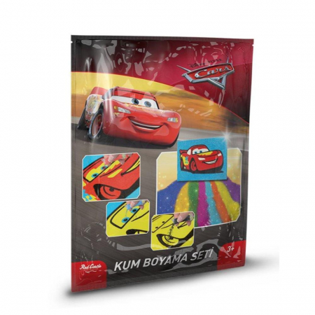 Cars, Disney, Set creativ pictura cu nisip colorat, 1 plansa 16,5 x 23,5 cm, 7 tuburi nisip multicolor, 1 betisor, 1 folie protectie, + 3 ani0