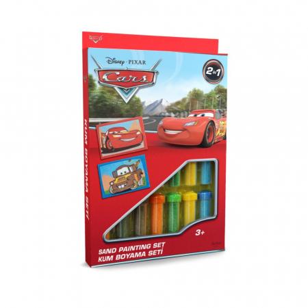 Cars - Fulger McQueen & Bucsa, Disney, Set creativ pictura cu nisip colorat, 2 planse 16,5 x 23,5 cm, 15 tuburi nisip multicolor, 1 penseta, 2 folii protectie, + 3 ani0