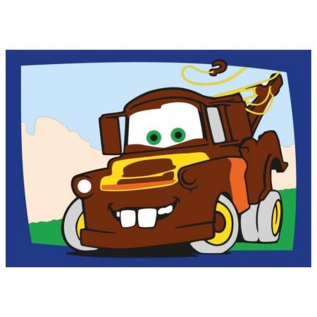 Cars - Fulger McQueen & Bucsa, Disney, Set creativ pictura cu nisip colorat, 2 planse 16,5 x 23,5 cm, 15 tuburi nisip multicolor, 1 penseta, 2 folii protectie, + 3 ani1