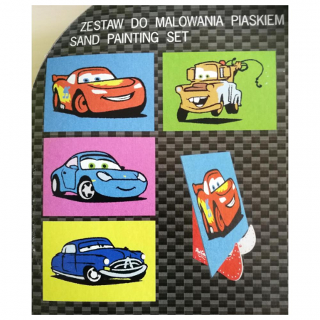 Cars - Fulger McQueen, Bucsa, Doc, Sally, Disney, Set creativ pictura cu nisip colorat, 4 planse 11,75 x 16,5 cm, 4 suporti carton, 16 tuburi nisip multicolor, 1 penseta, 4 folii protectie, + 3 ani1