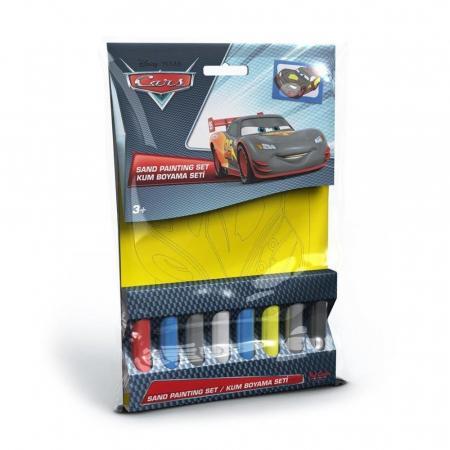 Cars - Fulger McQueen, Disney, Set creativ pictura cu nisip colorat, 1 plansa 16,5 x 23,5 cm, 8 tuburi nisip multicolor, 1 penseta, 1 folie protectie, + 3 ani0