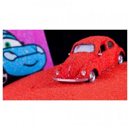 Cars - Fulger McQueen, Disney, Set creativ pictura cu nisip colorat, 1 plansa 16,5 x 23,5 cm, 8 tuburi nisip multicolor, 1 penseta, 1 folie protectie, + 3 ani6