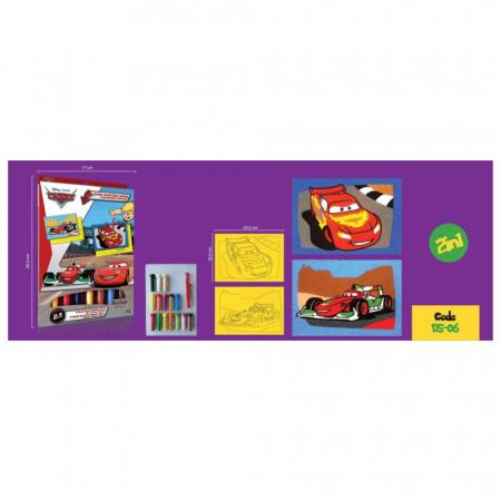 Cars - Fulger McQueen & Francesco Bernoulli, Disney, Set creativ pictura cu nisip colorat, 2 planse 16,5 x 23,5 cm, 15 tuburi nisip multicolor, 1 penseta, 2 folii protectie, + 3 ani1