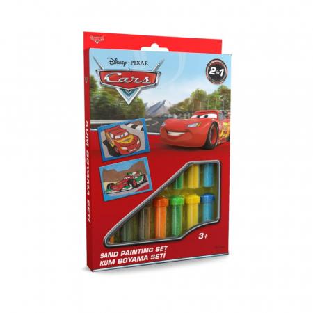 Cars - Fulger McQueen & Francesco Bernoulli, Disney, Set creativ pictura cu nisip colorat, 2 planse 16,5 x 23,5 cm, 15 tuburi nisip multicolor, 1 penseta, 2 folii protectie, + 3 ani0