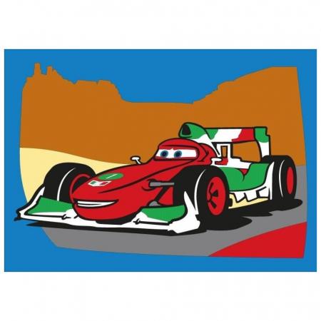 Cars - Fulger McQueen & Francesco Bernoulli, Disney, Set creativ pictura cu nisip colorat, 2 planse 16,5 x 23,5 cm, 15 tuburi nisip multicolor, 1 penseta, 2 folii protectie, + 3 ani3
