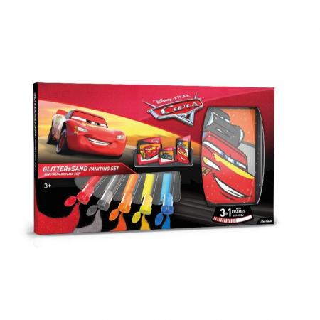 Cars - Fulger McQueen & Jackson Storm, Disney, Set creativ pictura cu nisip colorat, 1 plansa 14,8x21 cm, 2 planse 10,5x14,8 cm, 3 rame carton, 16 tuburi nisip multicolor, 1 penseta, 3 folii, + 3ani0