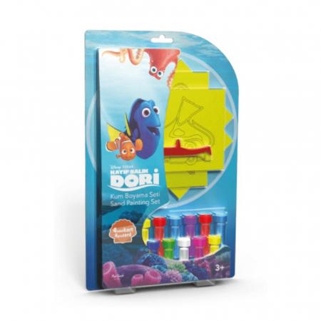 Dori & Nemo & Squirt, Disney, Set creativ pictura cu nisip colorat, 4 planse 11,75 x 16,5 cm, 4 suporti carton, 16 tuburi nisip multicolor, 1 penseta, 4 folii protectie, + 3 ani0