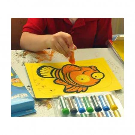 Dori & Nemo & Squirt, Disney, Set creativ pictura cu nisip colorat, 4 planse 11,75 x 16,5 cm, 4 suporti carton, 16 tuburi nisip multicolor, 1 penseta, 4 folii protectie, + 3 ani7