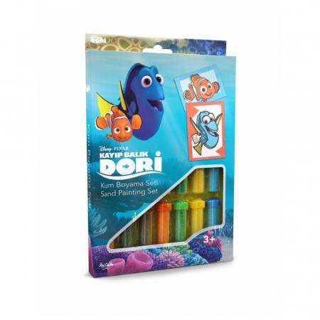 Dory & Nemo, Disney, Set creativ pictura cu nisip colorat, 2 planse 16,5 x 23,5 cm, 15 tuburi nisip multicolor, 1 penseta, 2 folii protectie, + 3 ani0