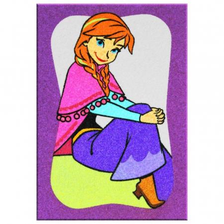 Frozen – Elsa & Anna, Disney, Set creativ pictura cu nisip colorat, 2 planse 16,5 x 23,5 cm, 15 tuburi nisip multicolor, 1 penseta, 2 folii protectie, + 3 ani2