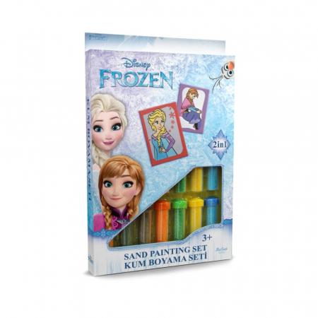 Frozen – Elsa & Anna, Disney, Set creativ pictura cu nisip colorat, 2 planse 16,5 x 23,5 cm, 15 tuburi nisip multicolor, 1 penseta, 2 folii protectie, + 3 ani0