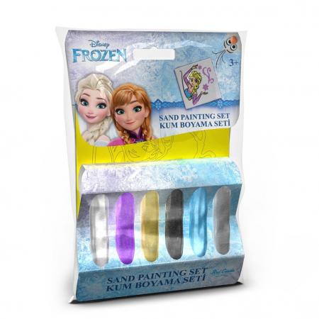 Frozen – Elsa, Disney, Set creativ pictura cu nisip colorat, 1 plansa 11 x 11 cm, 6 tuburi nisip multicolor, 1 penseta, 1 folie protectie, + 3 ani0