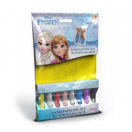 Frozen - Elsa, Disney, Set creativ pictura cu nisip colorat, 1 plansa 16,5 x 23,5 cm, 8 tuburi nisip multicolor, 1 penseta, 1 folie protectie, + 3 ani0