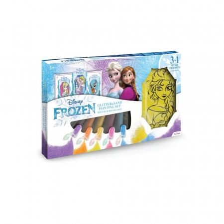Frozen – Elsa & Olaf, Disney, Set creativ pictura cu nisip colorat, 1 plansa 14,8 x 21 cm, 2 planse 10,5 x 14,8 cm, 3 rame carton, 16 tuburi nisip multicolor, 1 penseta, 3 folii protectie, + 3 ani0