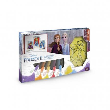 Frozen II – Elsa & Anna & Olaf, Disney, Set creativ pictura cu nisip colorat, 1 plansa 14,8x21 cm, 2 planse 10,5x14,8 cm, 3 rame carton, 16 tuburi nisip multicolor, 1 penseta, 3 folii, + 3ani0