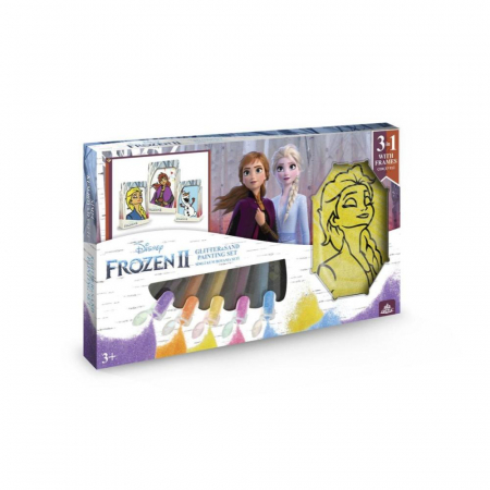 Frozen II – Elsa & Anna & Olaf II, Disney, Set creativ pictura cu nisip colorat, 1 plansa 14,8 x 21 cm, 2 planse 10,5 x 14,8 cm, 3 rame carton, 16 tuburi nisip multicolor, 1 penseta, 3 folii, + 3ani0