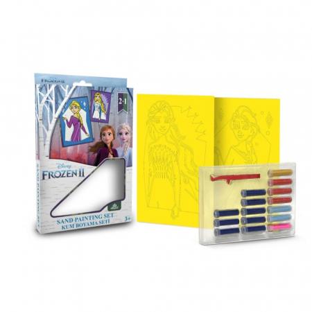 Frozen II - Elsa, Disney, Set creativ pictura cu nisip colorat, 2 planse 16,5 x 23,5 cm, 15 tuburi nisip multicolor, 1 penseta, 2 folii protectie, + 3 ani1