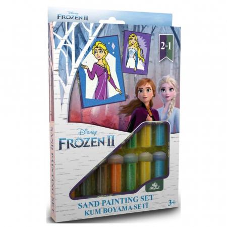 Frozen II - Elsa, Disney, Set creativ pictura cu nisip colorat, 2 planse 16,5 x 23,5 cm, 15 tuburi nisip multicolor, 1 penseta, 2 folii protectie, + 3 ani0