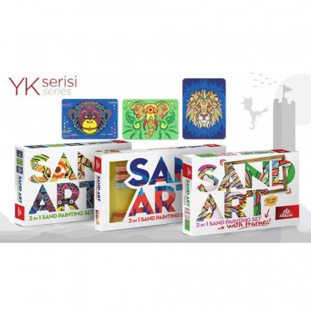 Leu, Elefant, Maimuta, Set creativ, pictura cu nisip colorat, 3 planse 23,5 x 33 cm, 45 tuburi nisip multicolor, 3 pensete, 3 folii protectie, pentru 10 – 99 ani6
