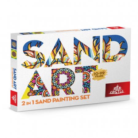 Leu, Mandala, Set creativ, pictura cu nisip colorat, 2 planse 23,5 x 33 cm, 30 tuburi nisip multicolor, 2 pensete, 2 folii protectie, pentru 10 – 99 ani0