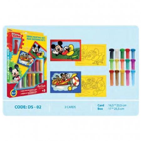 Mickey Mouse, Disney, Set creativ pictura cu nisip colorat, 2 planse 16,5 x 23,5 cm, 15 tuburi nisip multicolor, 1 penseta, 2 folii protectie, + 3 ani1