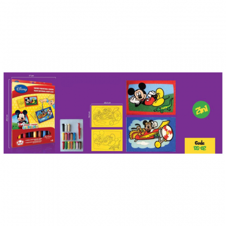 Mickey Mouse, Disney, Set creativ pictura cu nisip colorat, 2 planse 16,5 x 23,5 cm, 15 tuburi nisip multicolor, 1 penseta, 2 folii protectie, + 3 ani2