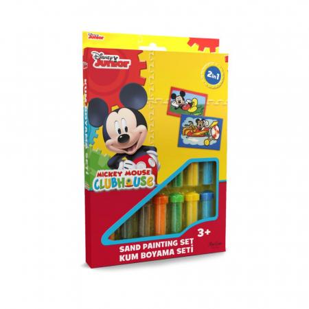 Mickey Mouse, Disney, Set creativ pictura cu nisip colorat, 2 planse 16,5 x 23,5 cm, 15 tuburi nisip multicolor, 1 penseta, 2 folii protectie, + 3 ani0