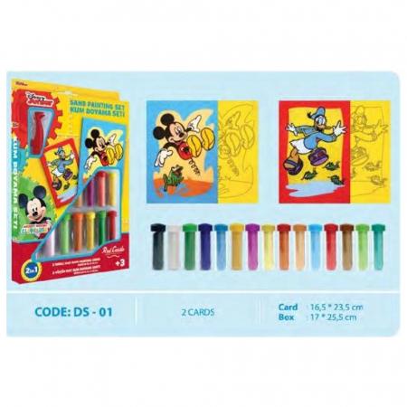 Mickey Mouse & Donald Duck, Disney, Set creativ pictura cu nisip colorat, 2 planse 16,5 x 23,5 cm, 15 tuburi nisip multicolor, 1 penseta, 2 folii protectie, + 3 ani1