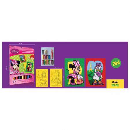Minnie Mouse & Daisy Duck, Disney, Set creativ pictura cu nisip colorat, 2 planse 16,5 x 23,5 cm, 15 tuburi nisip multicolor, 1 penseta, 2 folii protectie, + 3 ani2