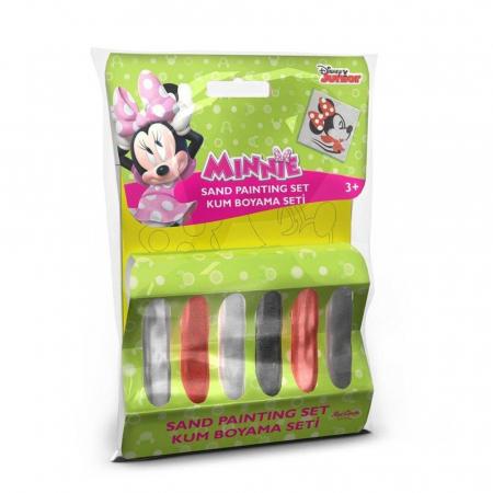 Minnie Mouse, Disney, Set creativ pictura cu nisip colorat, 1 plansa 11 x 11 cm, 6 tuburi nisip multicolor, 1 penseta, 1 folie protectie, + 3 ani0
