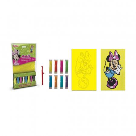 Minnie Mouse, Disney, Set creativ pictura cu nisip colorat, 1 plansa 16,5 x 23,5 cm, 8 tuburi nisip multicolor, 1 penseta, 1 folie protectie, + 3 ani1