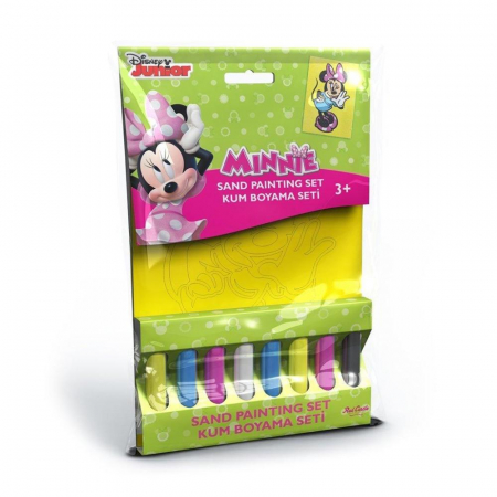 Minnie Mouse, Disney, Set creativ pictura cu nisip colorat, 1 plansa 16,5 x 23,5 cm, 8 tuburi nisip multicolor, 1 penseta, 1 folie protectie, + 3 ani0