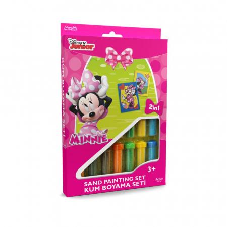 Minnie Mouse, Disney, Set creativ pictura cu nisip colorat, 2 planse 16,5 x 23,5 cm, 15 tuburi nisip multicolor, 1 penseta, 2 folii protectie, + 3 ani0