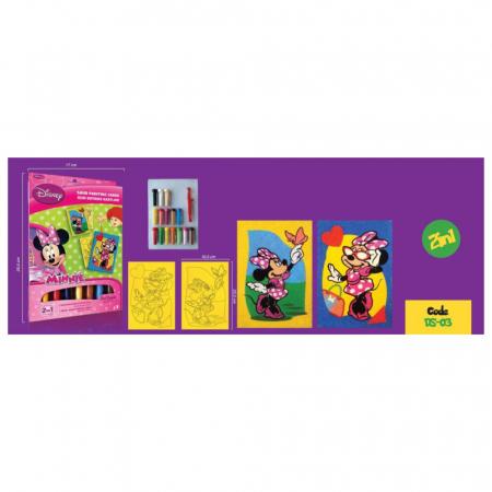 Minnie Mouse, Disney, Set creativ pictura cu nisip colorat, 2 planse 16,5 x 23,5 cm, 15 tuburi nisip multicolor, 1 penseta, 2 folii protectie, + 3 ani2
