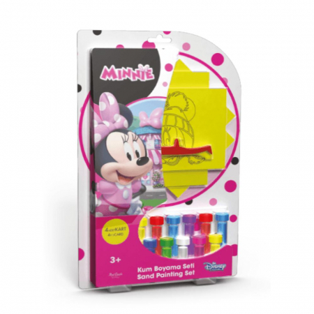 Minnie Mouse, Disney, Set creativ pictura cu nisip colorat, 4 planse 11,75 x 16,5 cm, 4 suporti carton, 16 tuburi nisip multicolor, 1 penseta, 4 folii protectie, + 3 ani0