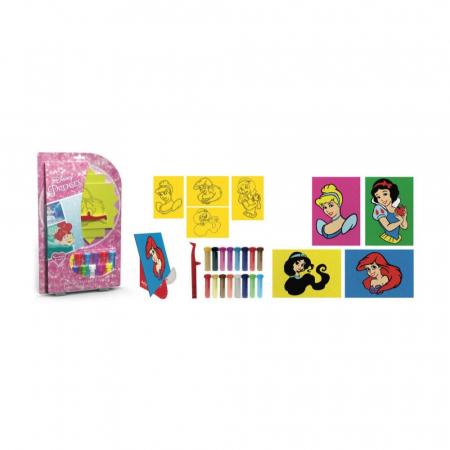 Printese Disney – Ariel, Cenusareasa, Alba ca Zapada, Jasmine, Set creativ pictura cu nisip colorat, 4 planse 11,75x16,5 cm, 4 suporti carton, 16 tuburi nisip multicolor, 1 penseta, 4 folii protectie1