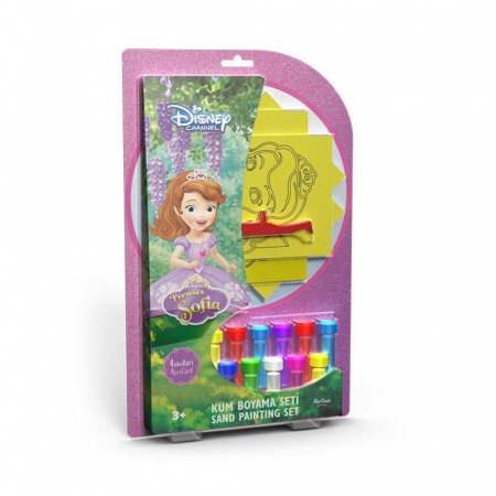 Sofia Intai, Disney, Set creativ pictura cu nisip colorat, 4 planse 11,75x16,5 cm, 4 suporti carton, 16 tuburi nisip multicolor, 1 penseta, 4 folii protectie, + 3 ani0