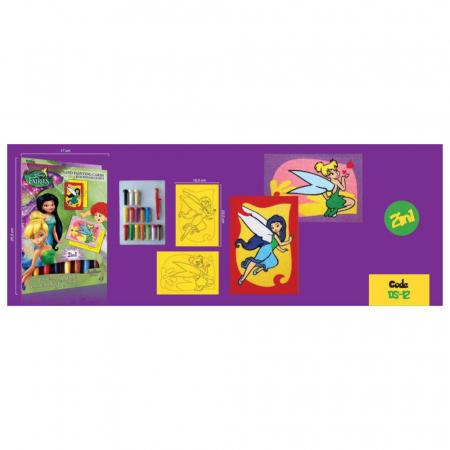 Tinker Bell & Silvermist, Disney, Set creativ pictura cu nisip colorat, 2 planse 16,5 x 23,5 cm, 15 tuburi nisip multicolor, 1 penseta, 2 folii protectie, + 3 ani2