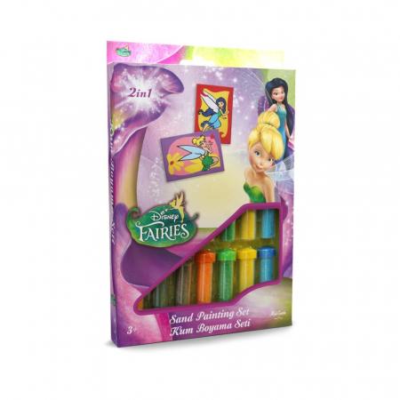 Tinker Bell & Silvermist, Disney, Set creativ pictura cu nisip colorat, 2 planse 16,5 x 23,5 cm, 15 tuburi nisip multicolor, 1 penseta, 2 folii protectie, + 3 ani0