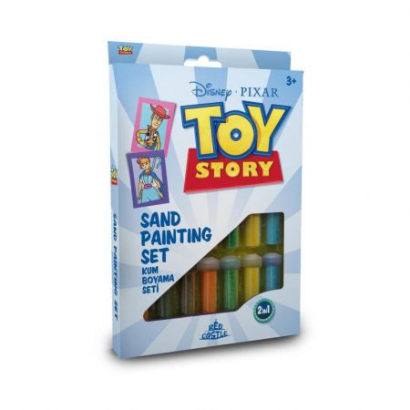 Toy Story 4 – Bo Peep & seriful Woody, Disney, Set creativ pictura cu nisip colorat, 2 planse 16,5 x 23,5 cm, 15 tuburi nisip multicolor, 1 penseta, 2 folii protectie, + 3 ani0