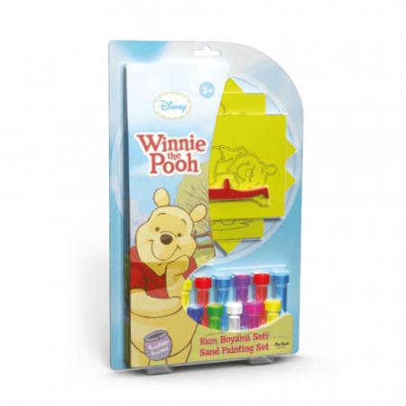 Winnie The Pooh & Piglet & Tigger & Eeyore, Disney, Set creativ pictura cu nisip colorat, 4 planse 11,75 x 16,5 cm, 4 suporti carton, 16 tuburi nisip multicolor, 1 penseta, 4 folii protectie, + 3 ani0