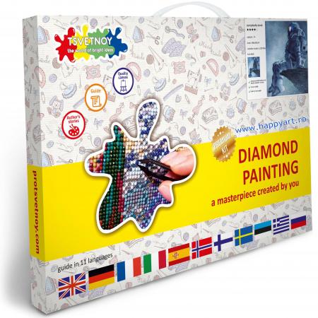 Set Goblen cu diamante, cu sasiu, Astronaut, 40x50 cm, 14 culori [2]